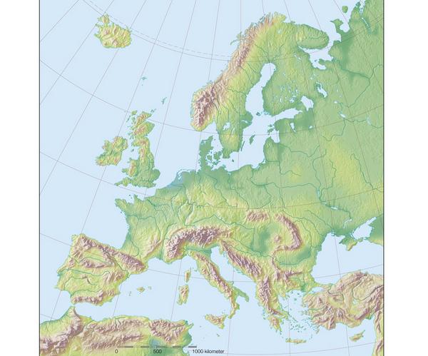 Fysisk Europakort