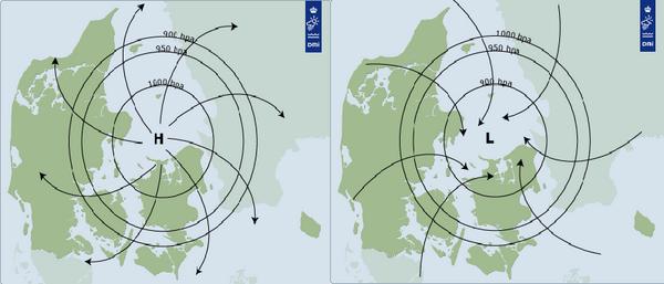 Højtryk og lavtryk - undervisningsmateriale til geografi