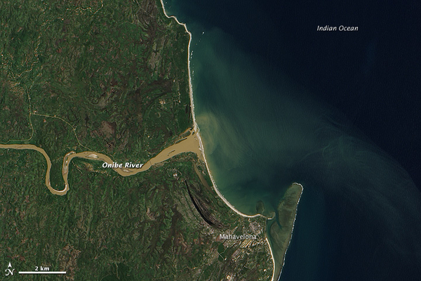 Thick Sediment in Madagascar s Onibe River   NASA Earth Observatory