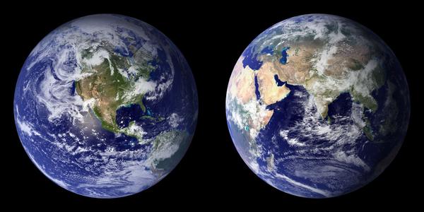 Satellitbillede af Jorden   NASA  2009  Apoc2400  2009  Wikimedia Commons   public domain   BlueMarble 2001 2002   mindsket
