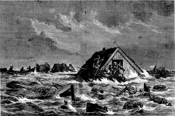 Stormfloden Sydfalster 13 november1872 Illustreret Tidende